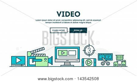Video making colorful concept header flat design thin line style vector illustration