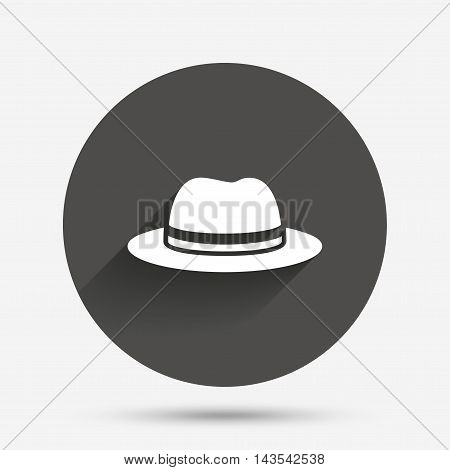 Top hat sign icon. Classic headdress symbol. Circle flat button with shadow. Vector