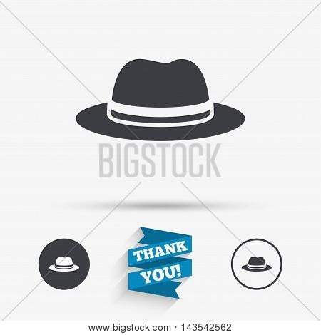 Top hat sign icon. Classic headdress symbol. Flat icons. Buttons with icons. Thank you ribbon. Vector