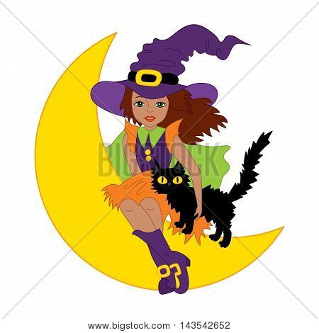 Vector African American witch with cat sitting on the moon