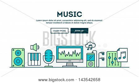 Music production colorful concept header flat design thin line style vector illustration