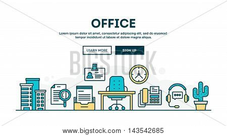 Office colorful concept header flat design thin line style vector illustration