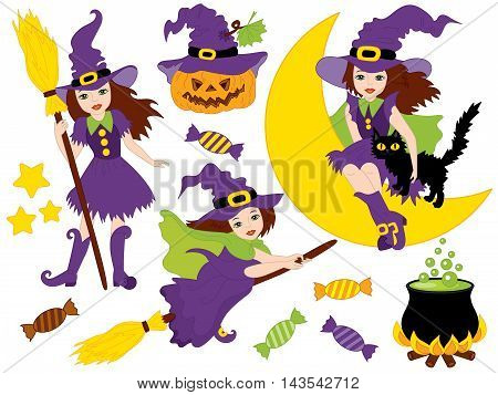 Vector witches set with broomsticks, cat, spider, bats, moon and pumpkin