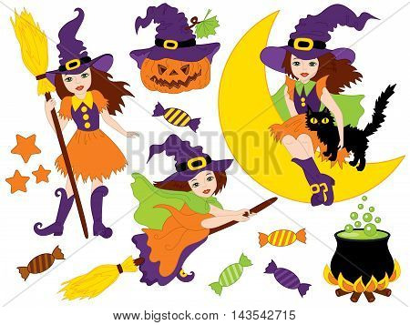 Vector witches set with broomsticks cat spider bats moon and pumpkin