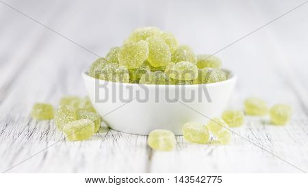 Wooden Table With Sour Gummy Candy