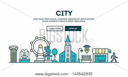 City colorful concept header flat design thin line style vector illustration