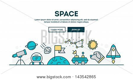 Space colorful concept header flat design thin line style vector illustration