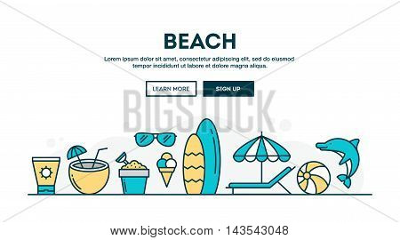 Beach summer vacation colorful concept header flat design thin line style vector illustration