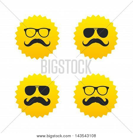 Mustache and Glasses icons. Hipster symbols. Facial hair signs. Yellow stars labels with flat icons. Vector