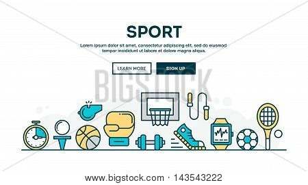 Sport recreation active lifestyle colorful concept header flat design thin line style vector illustration