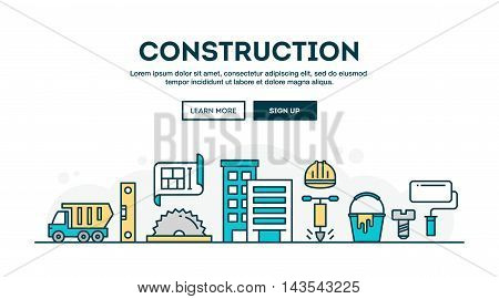 Construction colorful concept header flat design thin line style vector illustration