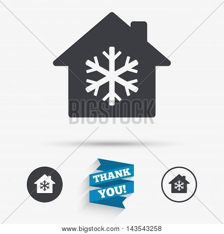 Air conditioning indoors icon. Snowflake sign. Flat icons. Buttons with icons. Thank you ribbon. Vector