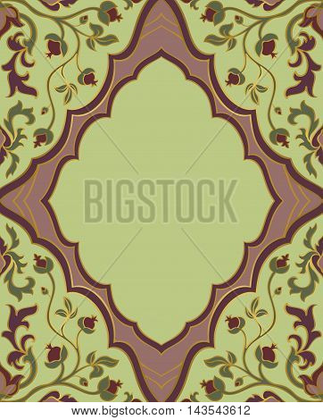Vector vintage greeting card with place for your text. A gentle romantic floral template for invitation card with a frame. Cover scrapbook with a beautiful pattern.