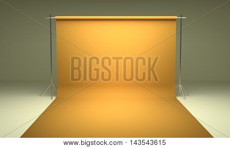 Empty photography studio background yellow template 3d render