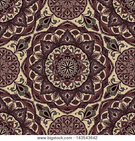 Vector seamless ornament of mandalas. Oriental purple ornament. Template for design embroidery textile shawl carpet wallpaper.
