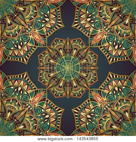 Oriental seamless pattern of mandalas. Vector rich filigree background. Template for textile carpet shawl.