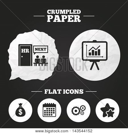 Crumpled paper speech bubble. Human resources icons. Presentation board with charts signs. Money bag and gear symbols. Man at the door. Paper button. Vector