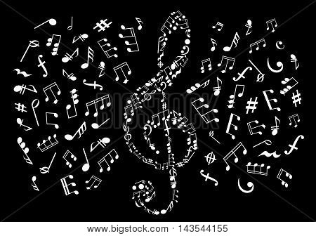 Musical notes black and white background with silhouette of treble clef made up of symbols and marks of musical notation with notes, chords, bass and treble clefs, rests, key signatures, coda and dynamics signs on both sides