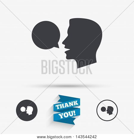 Talk or speak icon. Speech bubble symbol. Human talking sign. Flat icons. Buttons with icons. Thank you ribbon. Vector