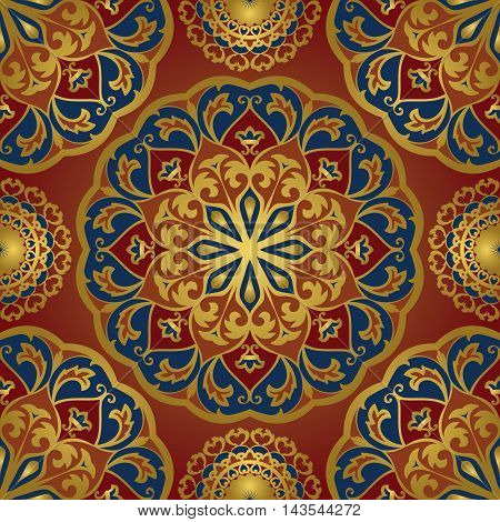 Seamless eastern pattern of mandalas on a red background. Vector elegance ornament. Design for any surface. Stylized template for carpet.