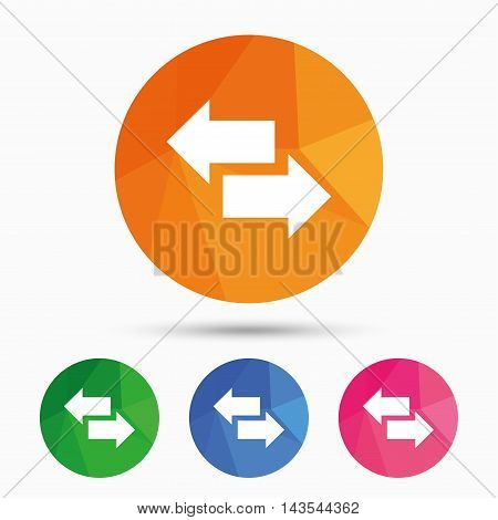 Incoming and outgoing calls sign. Upload. Download arrow symbol. Triangular low poly button with flat icon. Vector