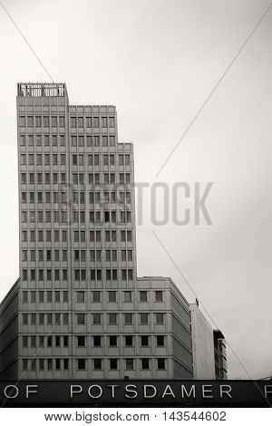 BERLIN, GERMANY - JUNE 21: The front view of the multistory skyscraper Beisheim Center at the Potsdam Square opposite to an underground station on June 21, 2016 in Berlin.