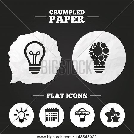 Crumpled paper speech bubble. Light lamp icons. Circles lamp bulb symbols. Energy saving. Idea and success sign. Paper button. Vector