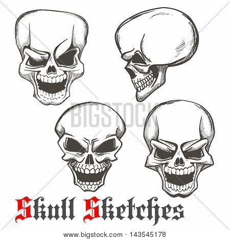 Smiling and winking skulls sketches of human skeleton heads with evil laughing grins. Use as tattoo or Halloween mascot design
