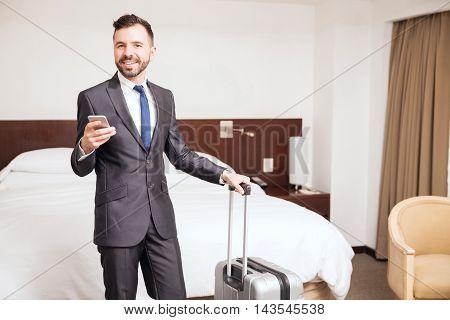 Hispanic Businessman In A Hotel