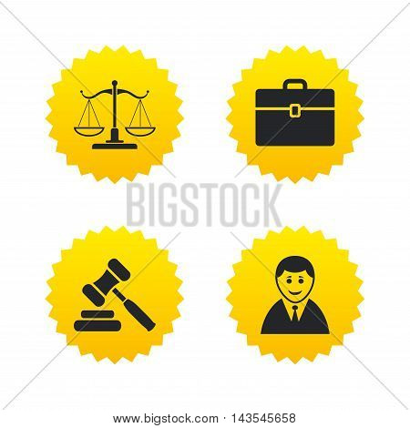 Scales of Justice icon. Client or Lawyer symbol. Auction hammer sign. Law judge gavel. Court of law. Yellow stars labels with flat icons. Vector