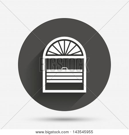 Louvers plisse sign icon. Window blinds or jalousie symbol. Circle flat button with shadow. Vector