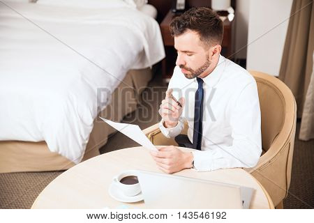 Businessman Working At A Hotel