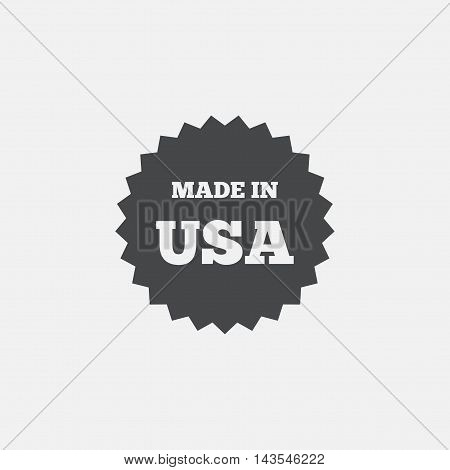 Made in the USA icon. Export production symbol. Product created in America sign. Flat icon on white background. Vector