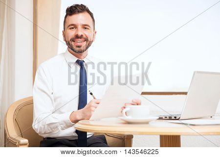 Attractive Attorney Working In A Hotel Room