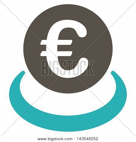 Euro Deposit icon. Vector style is bicolor flat iconic symbol with rounded angles, grey and cyan colors, white background.