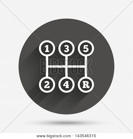 Manual transmission sign icon. Automobile mechanic control symbol. Circle flat button with shadow. Vector