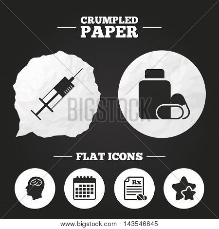 Crumpled paper speech bubble. Medicine icons. Medical tablets bottle, head with brain, prescription Rx and syringe signs. Pharmacy or medicine symbol. Paper button. Vector