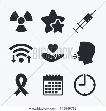 Medicine icons. Syringe, life insurance, radiation and ribbon signs. Breast cancer awareness symbol. Hand holds heart. Wifi internet, favorite stars, calendar and clock. Talking head. Vector