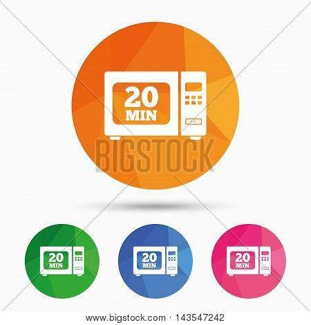Cook in microwave oven sign icon. Heat 20 minutes. Kitchen electric stove symbol. Triangular low poly button with flat icon. Vector