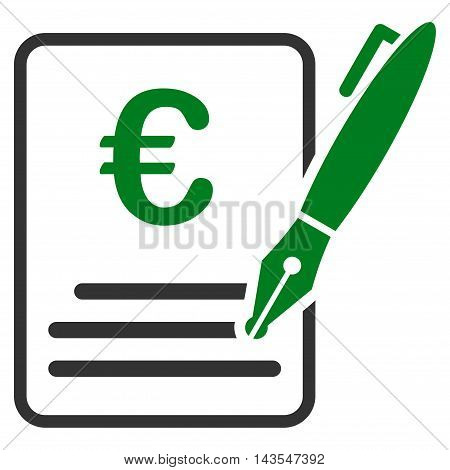 Euro Contract Signature icon. Vector style is bicolor flat iconic symbol with rounded angles, green and gray colors, white background.