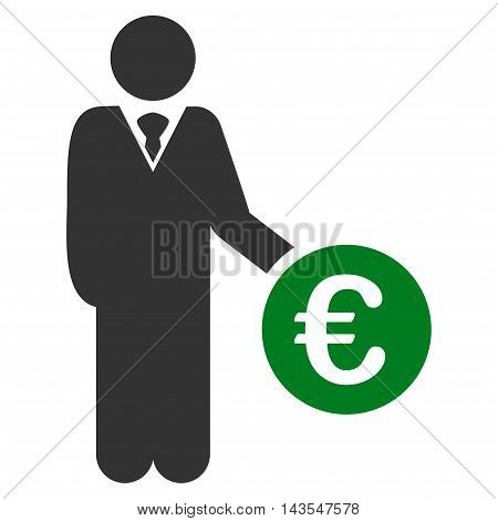 Euro Investor icon. Vector style is bicolor flat iconic symbol with rounded angles, green and gray colors, white background.