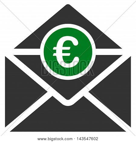 Euro Mail icon. Vector style is bicolor flat iconic symbol with rounded angles, green and gray colors, white background.