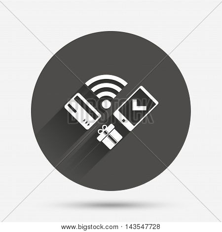 Wireless mobile payments icon. Smartphone, credit card and gift symbol. Circle flat button with shadow. Vector