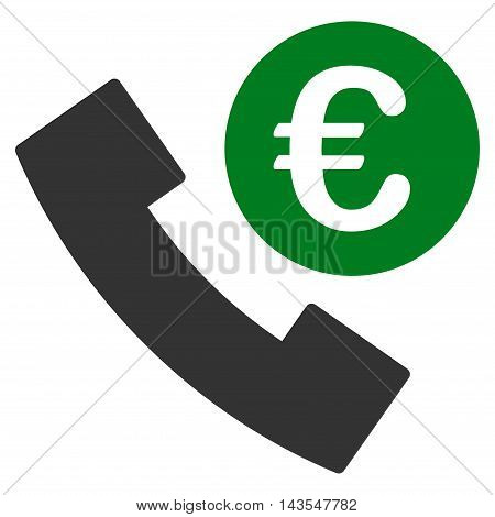 Euro Phone Order icon. Vector style is bicolor flat iconic symbol with rounded angles, green and gray colors, white background.