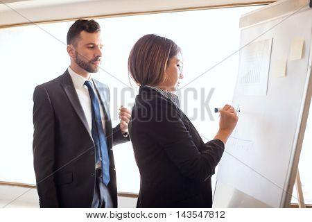 Business Coworkers Working On A Flipchart