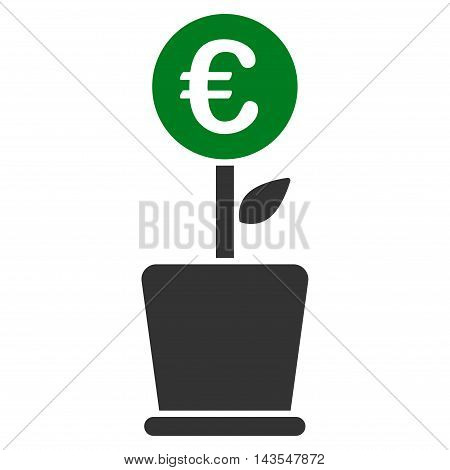 Euro Project Pot icon. Vector style is bicolor flat iconic symbol with rounded angles, green and gray colors, white background.