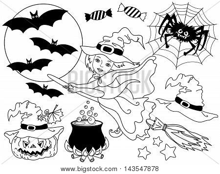 Vector black and white witch flying on broomstick with spider bats moon and pumpkin