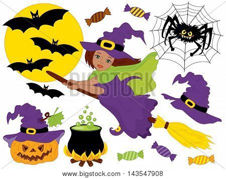 Vector African American witch flying on broomsticks with spider, bats, moon and pumpkin