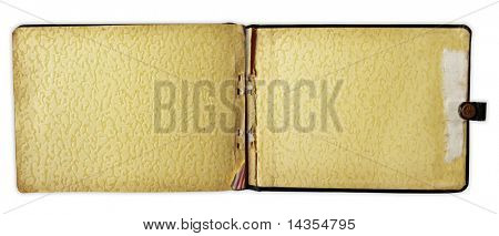 Inside cover of old autograph book, isolated on white.