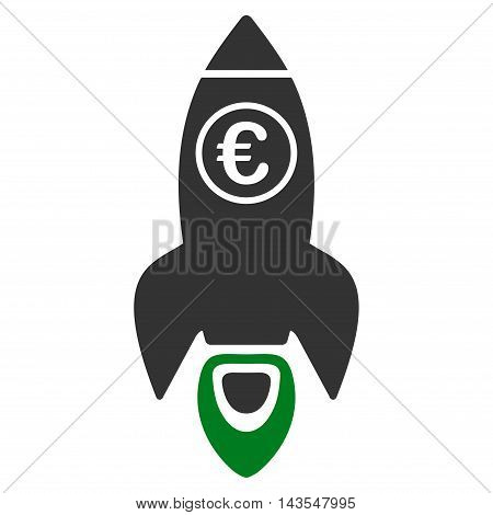 Euro Rocket Launch icon. Vector style is bicolor flat iconic symbol with rounded angles, green and gray colors, white background.